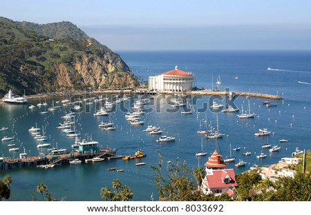 Avalon Bay from the hills on Catalina Island - stock photo