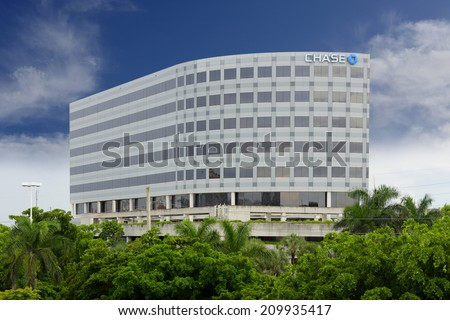 AVENTURA - AUGUST 4: Stock photo of Chase Bank NA building at Aventura Mall Florida taken on August 4 2014 in Aventura USA. Chase Bank if a financial instatution with over 5000 locations in the US - stock photo