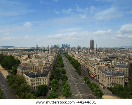 Avenue Charles de Gaulle from the Arc de Triomphe - stock photo