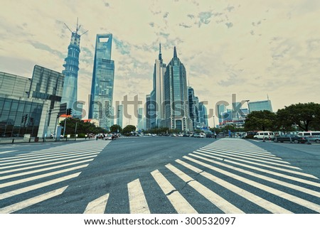 avenue in the modern city - stock photo