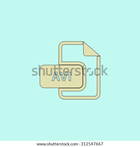 AVI video file extension. Flat simple line icon. Retro color modern illustration pictogram. Collection concept symbol for infographic project and logo - stock photo