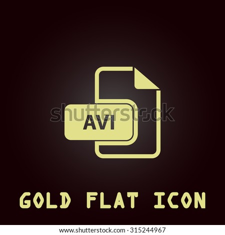 AVI video file extension. Gold flat icon. Symbol for web and mobile applications for use as logo, pictogram, infographic element - stock photo
