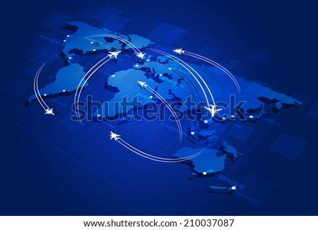 aviation background with planes over the map with major city names - stock photo