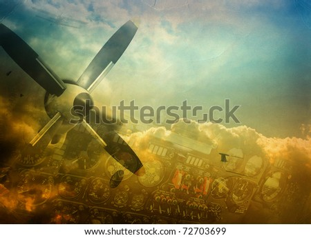Aviation, grunge background with space for text - stock photo