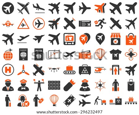 Aviation Icon Set. These flat bicolor icons use orange and gray colors. Raster images are isolated on a white background. - stock photo
