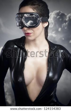 Aviator girl with black leather jacket - stock photo