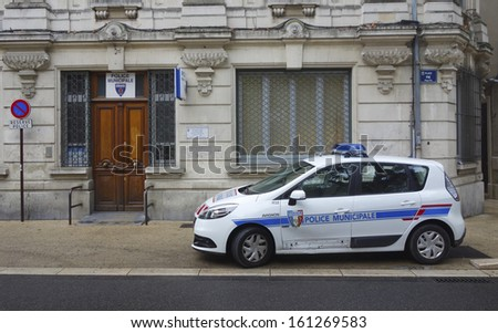 AVIGNON, FRANCE - OCTOBER 13: Municipal police car in Avignon on October 13, 2013. The Municipal Police are the local police of towns and cities in France under the direct authority of the Mayor - stock photo