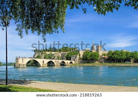 Avignon's bridge and The Popes Palace in Avignon ( city of Popes), France - stock photo