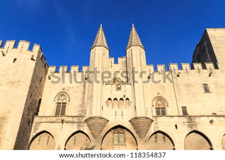 Avignon - View on Popes Palace, Provence, France - stock photo