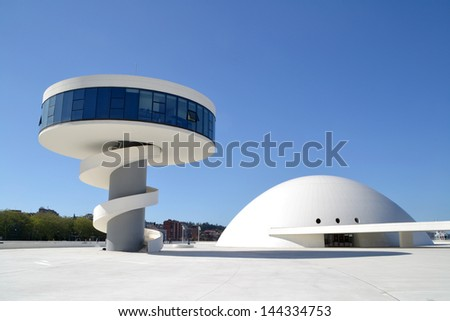 AVILES, SPAIN - APRIL 23 View of Niemeyer Center building, in Aviles, Spain, on April 23, 2013. The cultural center was designed by Brazilian architect Oscar Niemeyer. - stock photo