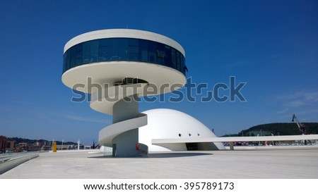 AVILES, SPAIN - JULY 6 View of Niemeyer Center building, in Aviles, Spain, on July 6, 2015. The cultural center was designed by Brazilian architect Oscar Niemeyer. - stock photo