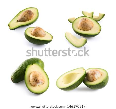 Avocado alligator pear fruit composition isolated over white background, set of four foreshortenings - stock photo