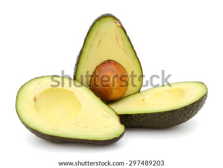 avocado fruits on white background  - stock photo