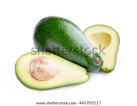 Avocado isolated on white background. - stock photo