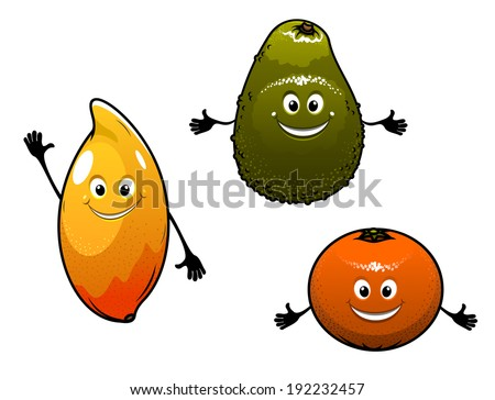 Avocado, mango and orange fruits logo isolated on white background in cartoon style. Vector version also available in gallery - stock photo