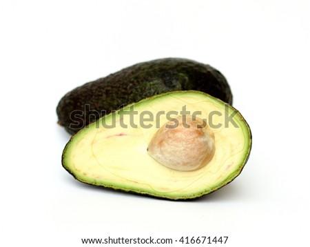 avocado on a white background - stock photo