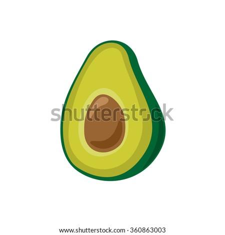 Avocado simple cartoon illustration. Isolated on a white background. - stock photo