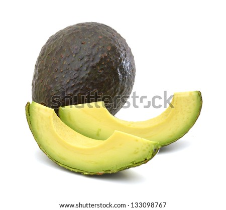 avocado slices isolated on a white background - stock photo