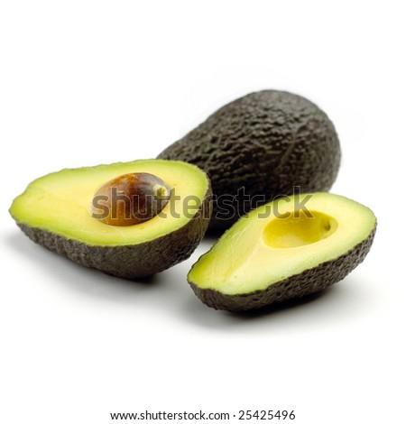 Avocados isolated on white background - stock photo