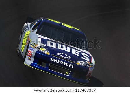 AVONDALE, AZ - OCT 5: Jimmie Johnson (48) takes hot laps during a NASCAR Sprint Cup track testing session on Oct. 5, 2011 at Phoenix International Raceway in Avondale, AZ. - stock photo