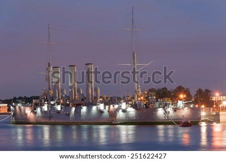 Avrora, oldest Russian navy cruiser, symbol of October revolution - stock photo