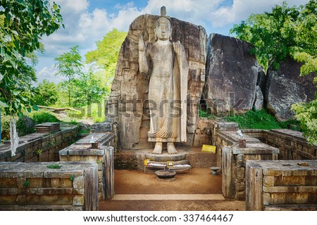 Avukana Buddha Statue near Kekirawa, Sri Lanka - stock photo