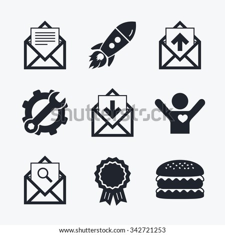 Award achievement, spanner and cog, startup rocket and burger. Mail envelope icons. Find message document symbol. Post office letter signs. Inbox and outbox message icons. Flat icons. - stock photo