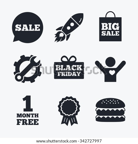 Award achievement, spanner and cog, startup rocket and burger. Sale speech bubble icon. Black friday gift box symbol. Big sale shopping bag. First month free sign. Flat icons. - stock photo