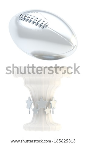 Award american football or rugby sport silver trophy cup isolated over white background - stock photo