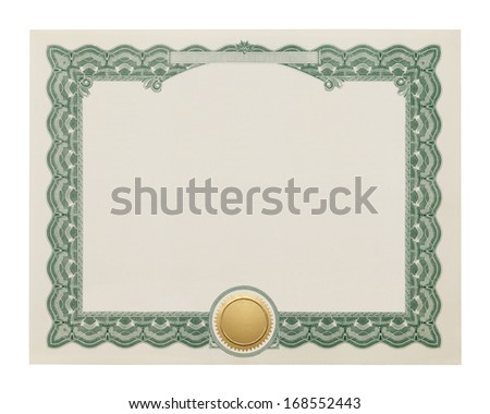 Award Degree With Copy Space and Gold Seal Isolated on White Background. - stock photo