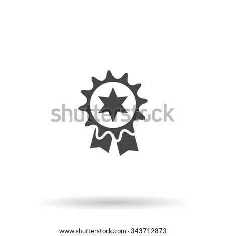 Award. Flat icon on grey background with shadow - stock photo