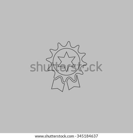 Award. Flat outline icon on grey background - stock photo