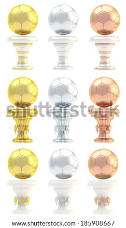 Award football, soccer sport trophy set of golden, silver and bronze cups in three design variations isolated over white background - stock photo