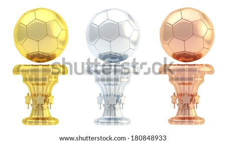 Award football, soccer sport trophy set of golden, silver and bronze cups isolated over white background - stock photo