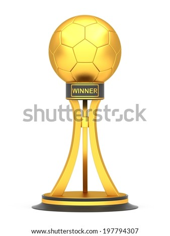Award football trophy cup isolated on a white background - stock photo