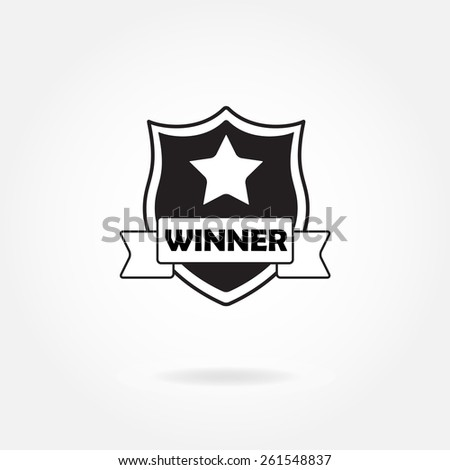 Award icon or sign. Winner shield with star and ribbon. - stock photo