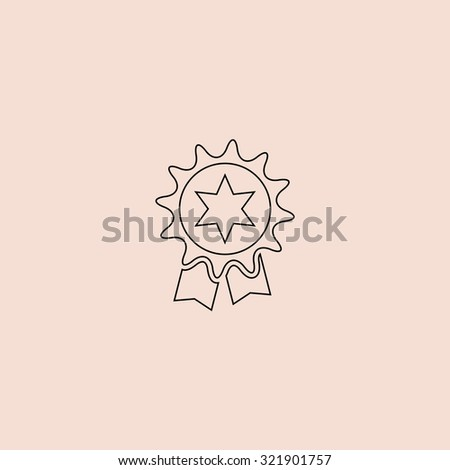 Award. Outline icon. Simple flat pictogram on pink background - stock photo
