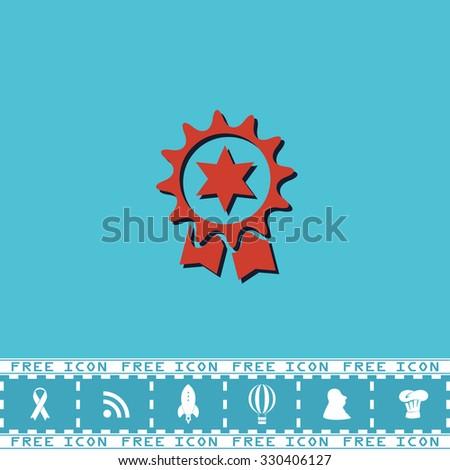 Award. Red flat symbol with dark shadow and bonus icon. Simple illustration pictogram on blue background - stock photo