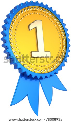 Award ribbon badge golden number one winner success. First place pride tag. The best win design element template. This is a high quality CG image 3D render. Isolated on white background - stock photo