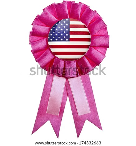 award ribbon with USA flag button  isolated on White Background - stock photo