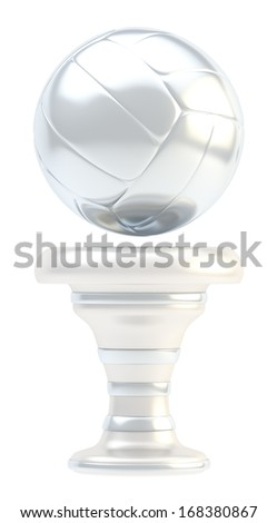 Award volleyball sport silver trophy cup isolated over white background - stock photo