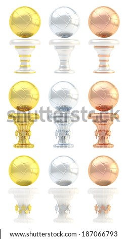 Award volleyball sport trophy set of golden, silver and bronze cups in three design variations isolated over white background - stock photo