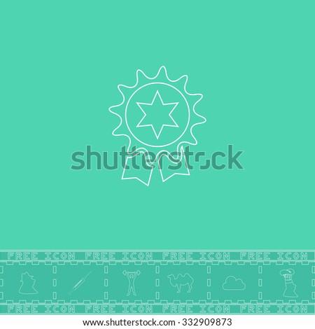 Award. White outline flat icon and bonus symbol. Simple illustration pictogram on green background - stock photo