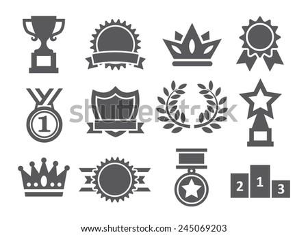Awards icons - stock photo