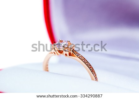 awedding box for ring is isolated on a white background - stock photo