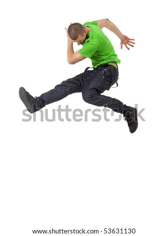 awesome dancer is jumping very high on a white background - stock photo