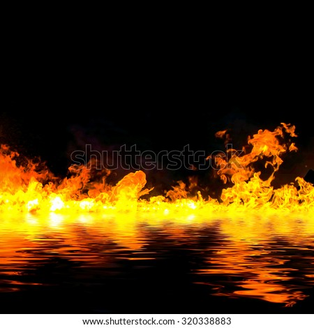 awesome fire flames with water reflection, on a black background. - stock photo