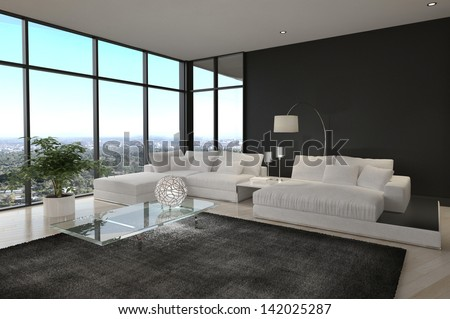 Awesome Modern Loft Living Room   Architecture Interior - stock photo