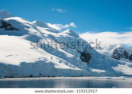 Awesome seascape in Antarctica, bright sunny day - stock photo