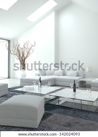 Awesome white Living Room | Interior Architecture - stock photo
